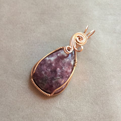 Lepidolite 14K Rose Gold Filled Wire Pendant