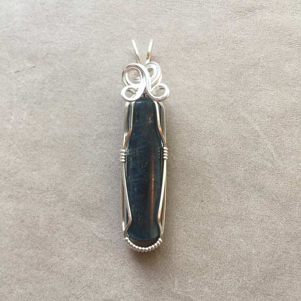 Dark Blue Kyanite Sterling Silver Wire Wrapped Pendant