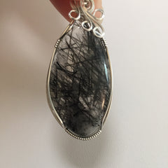 Black Tourmaline in Quartz Sterling Silver Wire Wrapped Pendant