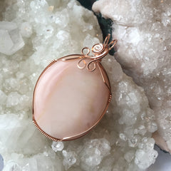 Andean Pink Opal 14K Rose Gold Filled Wire Pendant