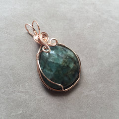 Green Emerald 14k Rose Gold FIlled Wire Pendant