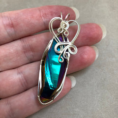 Rainbow Aura Titanium Quartz Crystal Wire Wrapped Sterling Silver Pendant