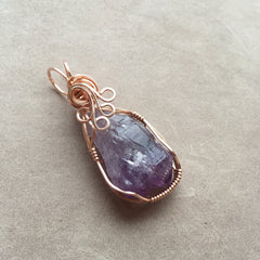 Uruguayan Amethyst Twin Crystal 14K Rose Gold Filled Wire Wrapped Pendant