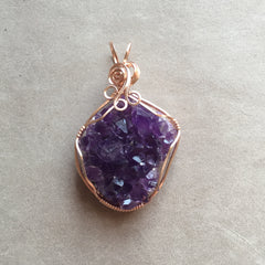 Uruguayan Amethyst Crystal Cluster Rose Gold Filled Wire Wrapped Pendant