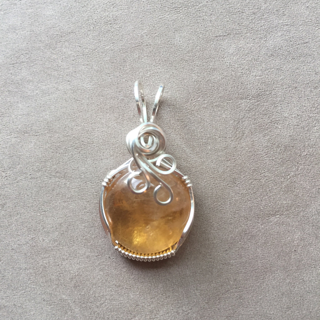 Citrine Cabochon Sterling Silver Wire Wrapped Pendant