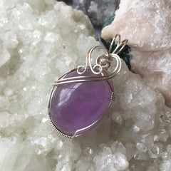 Amethyst Cabochon Sterling Silver Pendant