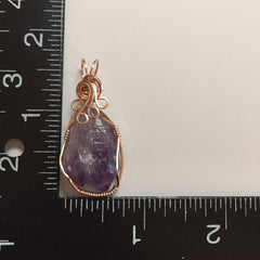 Uruguayan Amethyst Cathedral Twin Crystal 14K Rose Gold Filled Wire Wrapped Pendant