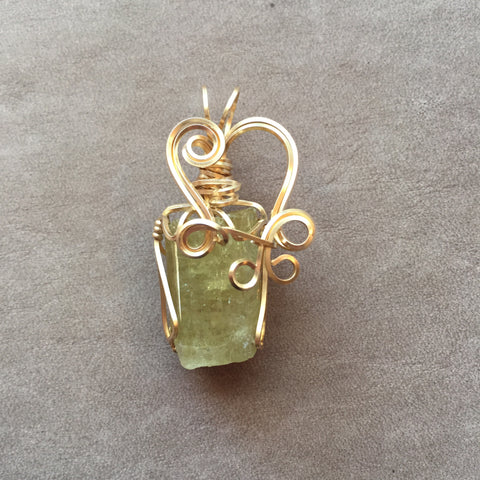Yellow Apatite Crystal Wire Wrapped 14K Gold Filled Pendant