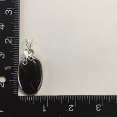 Black Tourmaline Cabochon Sterling Silver Wire Wrapped Pendant