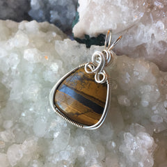 Tiger's Eye Sterling Silver Wire Wrapped Pendant
