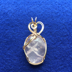 Rose Quartz Cabochon 14K Gold Filled Wire Wrapped Pendant