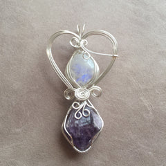 Rainbow Moonstone and Uruguayan Amethyst Crystal Sterling Silver Wire Wrapped Pendant