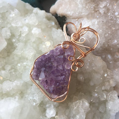 Amethyst Crystal Cluster 14K Rose Gold Filled Wire Pendant