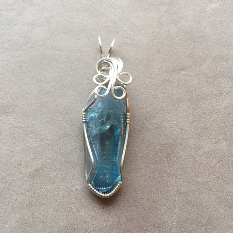 Aqua Aura Quartz Crystal Sterling Silver Wire Wrapped Pendant