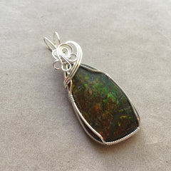 Ammolite Sterling Silver Wire Wrapped Pendant
