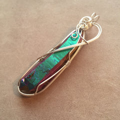 Large DT Rainbow Aura Titanium Quartz Twin Crystal Wire Wrapped Sterling Silver Pendant