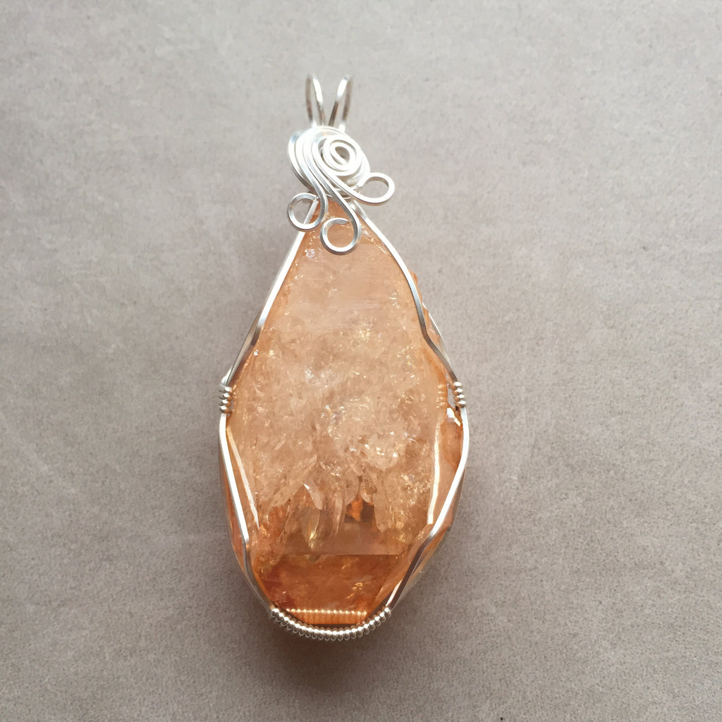 Large Sunshine Aura Tangerine Aura Quartz Crystal Sterling Silver Wire Wrapped Pendant