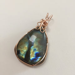 Labradorite 14K Rose Gold Filled Wire Wrapped Pendant