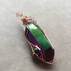 Very Large Rainbow Aura Titanium Quartz Companion Crystal 14k Rose Gold Filled Wire Pendant