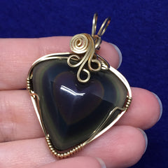 Rainbow Obsidian Carved Heart Wire Wrapped 14K Gold Filled Pendant