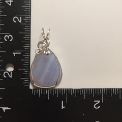 Blue Lace Agate Sterling Silver Wire Pendant