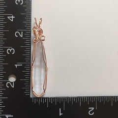 Clear Quartz Crystal Rose Gold Filled Wire Wrapped Pendant
