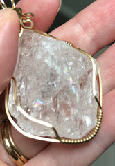Large Raw Clear Danburite Crystal 14K Gold Filled Pendant