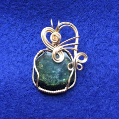 Green Tourmaline Slice 14K Gold Filled Wire Wrapped Pendant
