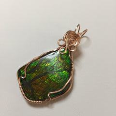 Ammolite 14K Rose Gold Filled Wire Wrapped Pendant