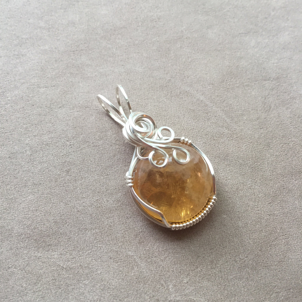 Citrine Cabochon Sterling Silver Wire Wrapped Pendant – Dreaming ...