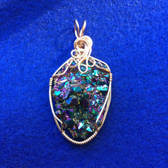 Rainbow Aura Quartz Crystal Cluster 14K Rose Gold Filled Pendant