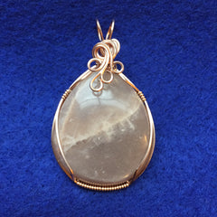 Large Peach Moonstone Wire Wrapped Rose Gold Filled Pendant