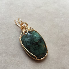 Green Emerald 14k Gold FIlled Wire Pendant