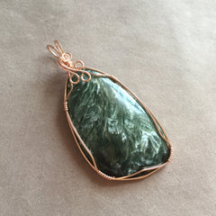 Seraphinite Rose Gold Filled Wire Wrapped Pendant