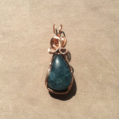 Aquamarine 14K Rose Gold Filled Wire Wrapped Pendant