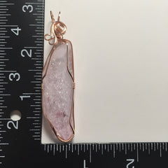Large Rose Aura Quartz Rainbow Crystal 14K Rose Gold Filled Wire Wrapped Pendant