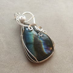 Labradorite Sterling Silver Wire Wrapped Pendant
