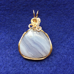 Blue Lace Agate Wire Wrapped 14K Gold Filled Pendant