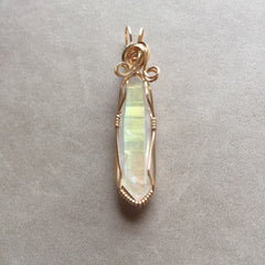 Opal Aura Angel Aura Quartz Crystal Wire Wrapped Pendant