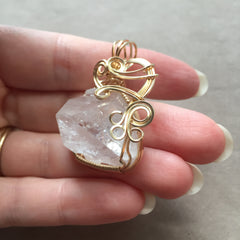 Apophyllite Pyramid Crystal 14K Gold Filled Wire Wrapped Pendant