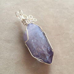 Large Celestial Aura Tanzine Aura Quartz Crystal Sterling Silver Wire Wrapped Pendant