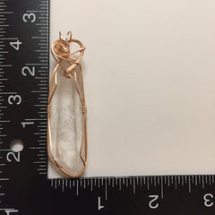 Large Clear DT Quartz Crystal 14K Rose Gold Filled Wire Wrapped Pendant