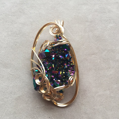 Rainbow Aura Quartz Crystal Cluster 14K Gold Filled Sculpted Wire Wrapped Art Pendant