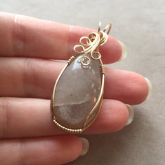 Peach Moonstone Wire Wrapped 14K Gold Filled Pendant