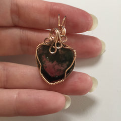Watermelon Tourmaline Slice 14K Rose Gold Filled Wire Wrapped Pendant