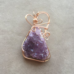 Canadian Amethyst Crystal Cluster 14K Rose Gold Filled Wire Pendant