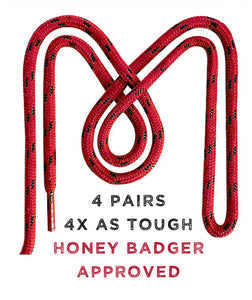 Honey Badger Boot Laces Heavy Duty W/Kevlar - (2 Pairs)
