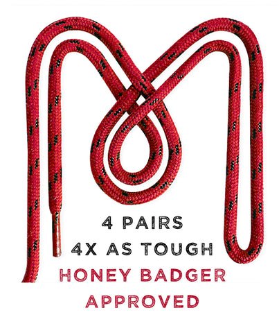 Honey Badger Boot Laces Heavy Duty W/Kevlar - (3 Pairs)