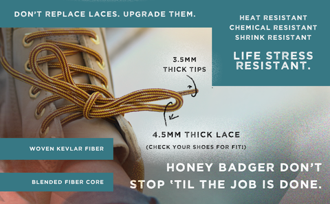 Honey Badger Work Boot Laces Heavy Duty W/Kevlar - Chestnut and Black