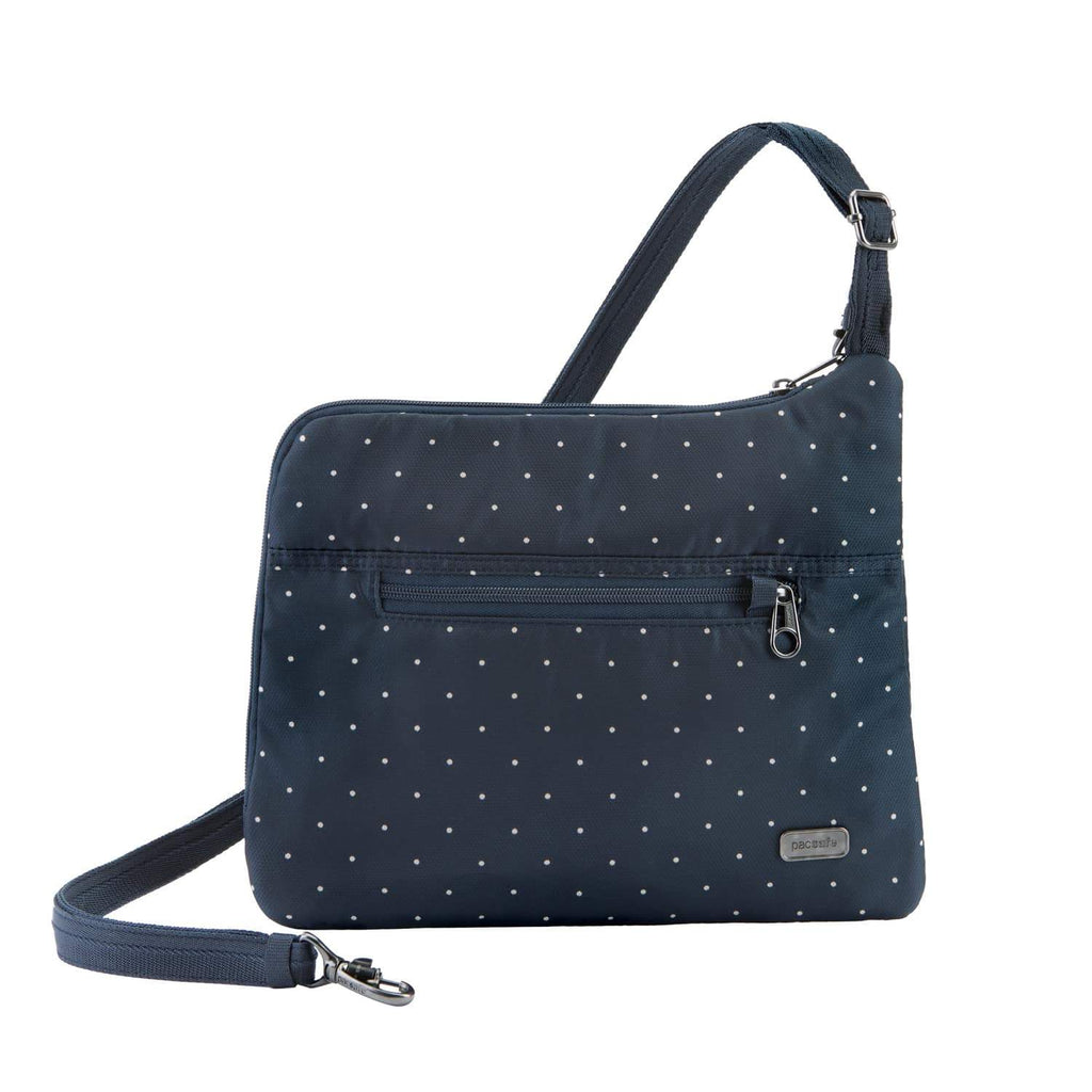 Daysafe Anti-Theft Slim Crossbody Bag, Navy Polka Dot